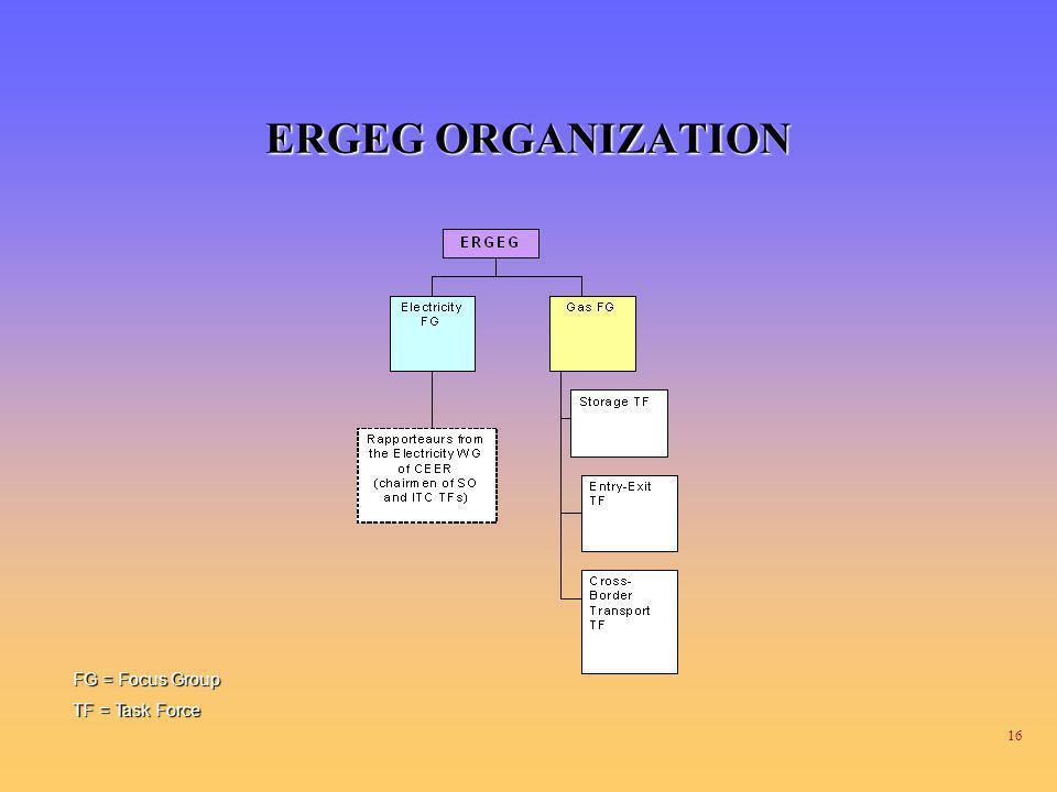 16 ERGEG ORGANIZATION FG = Focus Group TF = Task Force