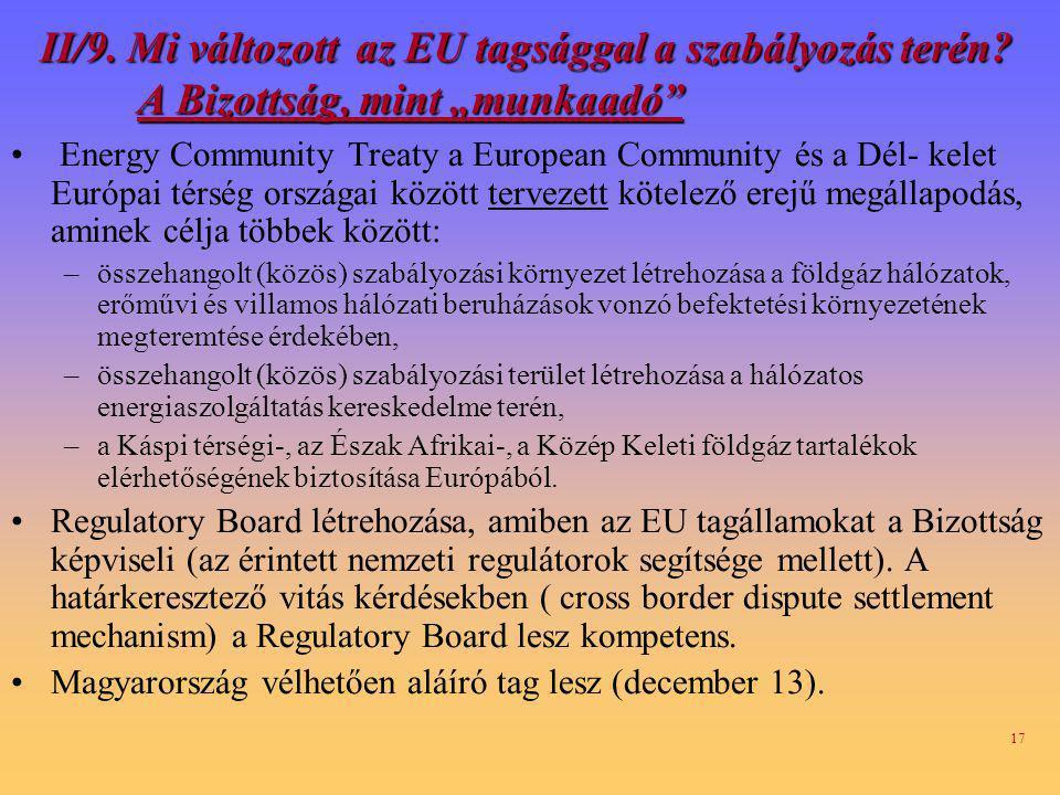 17 II/9.Mi változott az EU tagsággal a szabályozás terén.