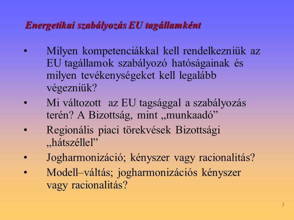 2 Energetikai szabályozás EU tagállamként Milyen kompetenciákkal kell rendelkezniük az EU tagállamok szabályozó hatóságainak és milyen tevékenységeket kell legalább végezniük.