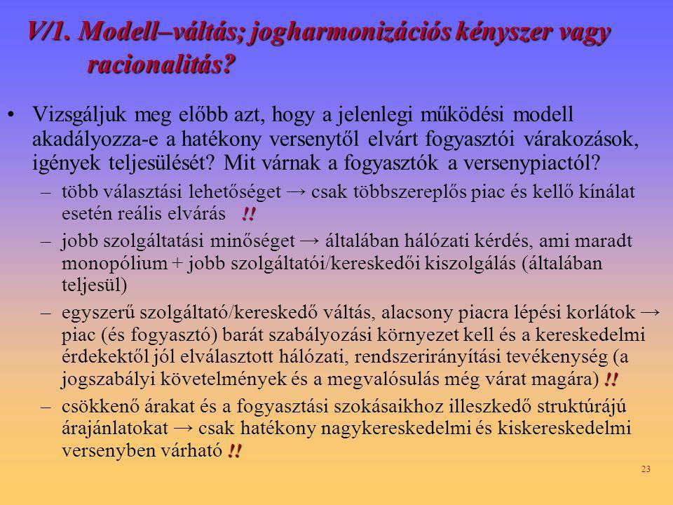 23 V/1.Modell–váltás; jogharmonizációs kényszer vagy racionalitás.