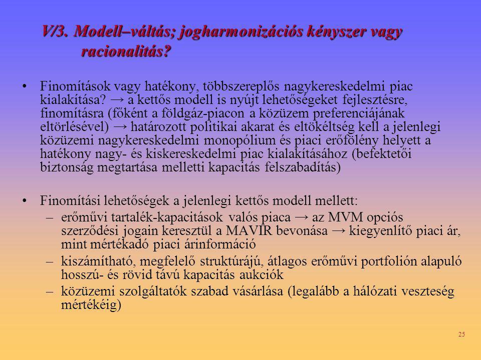 25 V/3.Modell–váltás; jogharmonizációs kényszer vagy racionalitás.