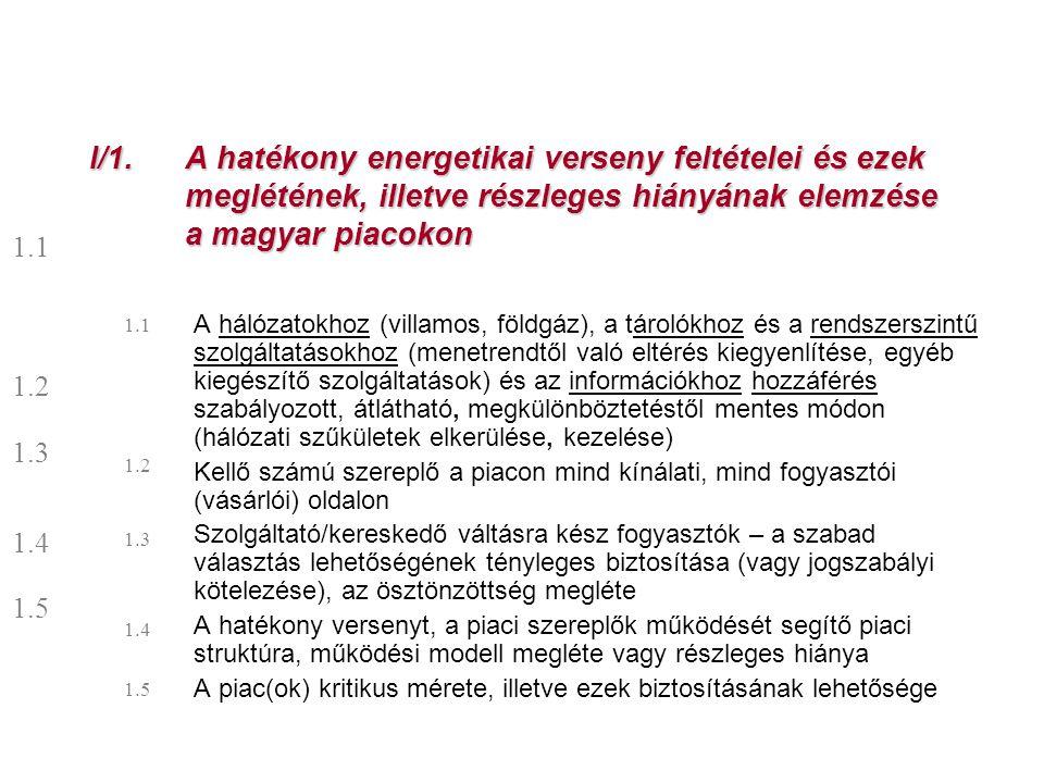 I/1. A hatékony energetikai verseny feltételei és ezek meglétének, illetve részleges hiányának elemzése a magyar piacokon A hálózatokhoz (villamos, fö