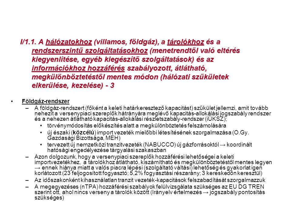I/1.1. A hálózatokhoz (villamos, földgáz), a tárolókhoz és a rendszerszintű szolgáltatásokhoz (menetrendtől való eltérés kiegyenlítése, egyéb kiegészí