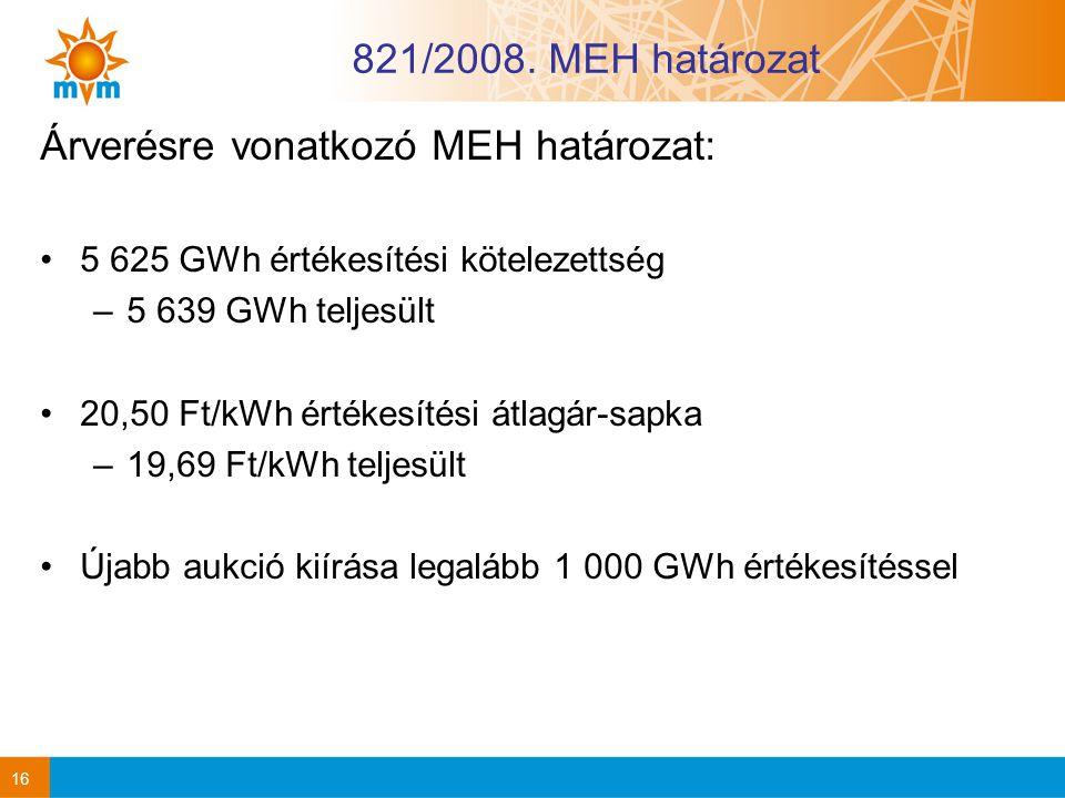 16 821/2008. MEH határozat Árverésre vonatkozó MEH határozat: 5 625 GWh értékesítési kötelezettség –5 639 GWh teljesült 20,50 Ft/kWh értékesítési átla