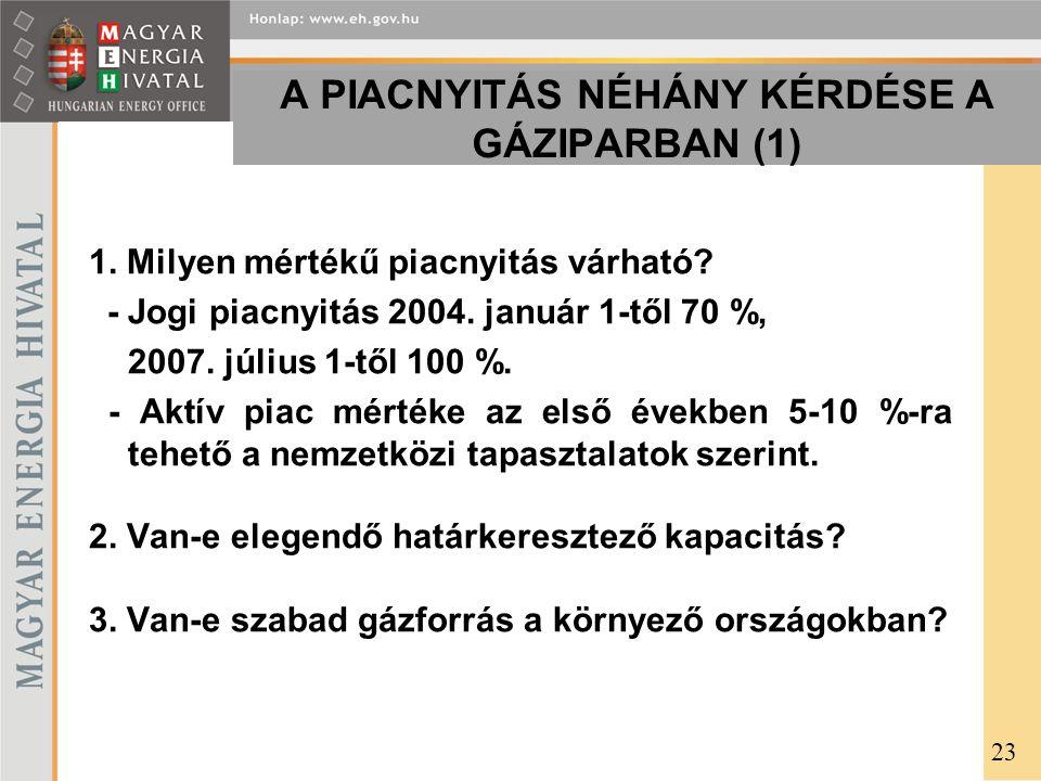 A PIACNYITÁS NÉHÁNY KÉRDÉSE A GÁZIPARBAN (1) 1. Milyen mértékű piacnyitás várható? - Jogi piacnyitás 2004. január 1-től 70 %, 2007. július 1-től 100 %