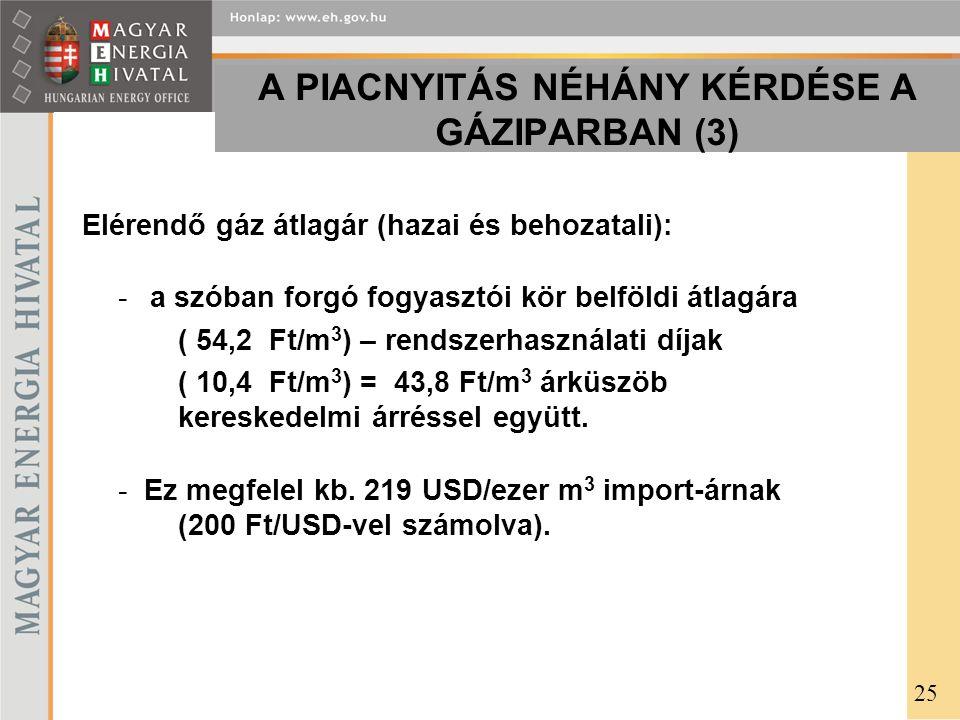 A PIACNYITÁS NÉHÁNY KÉRDÉSE A GÁZIPARBAN (3) Elérendő gáz átlagár (hazai és behozatali): - a szóban forgó fogyasztói kör belföldi átlagára ( 54,2 Ft/m