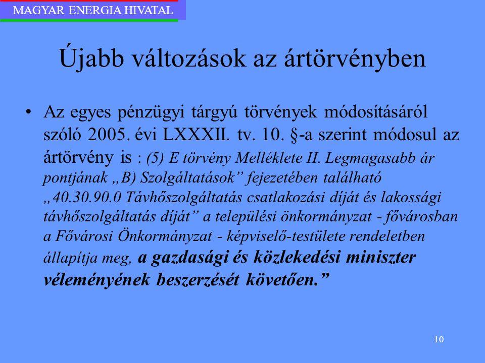 MAGYAR ENERGIA HIVATAL 10 Újabb változások az ártörvényben Az egyes pénzügyi tárgyú törvények módosításáról szóló 2005. évi LXXXII. tv. 10. §-a szerin