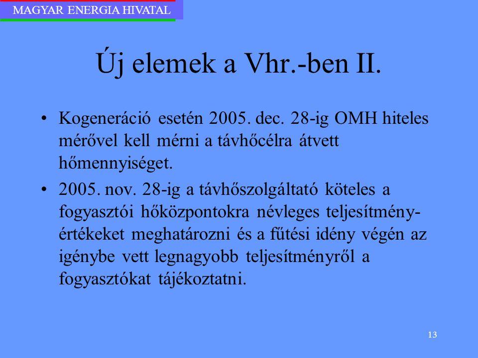 MAGYAR ENERGIA HIVATAL 13 Új elemek a Vhr.-ben II. Kogeneráció esetén 2005. dec. 28-ig OMH hiteles mérővel kell mérni a távhőcélra átvett hőmennyisége