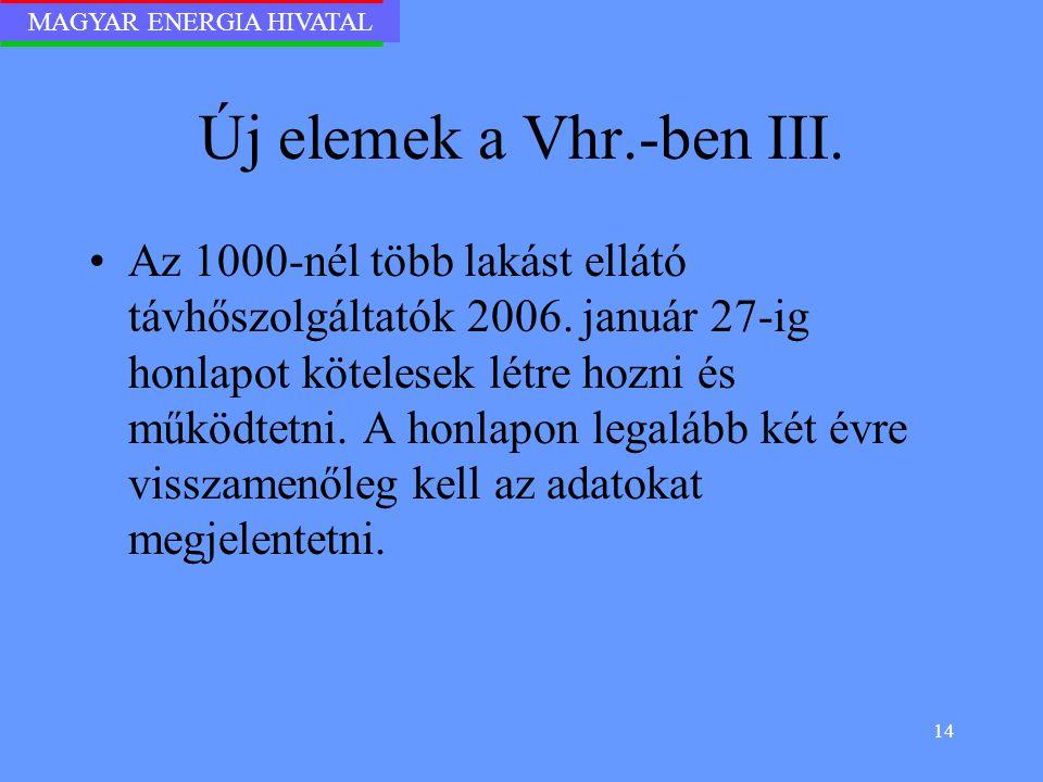 MAGYAR ENERGIA HIVATAL 14 Új elemek a Vhr.-ben III. Az 1000-nél több lakást ellátó távhőszolgáltatók 2006. január 27-ig honlapot kötelesek létre hozni
