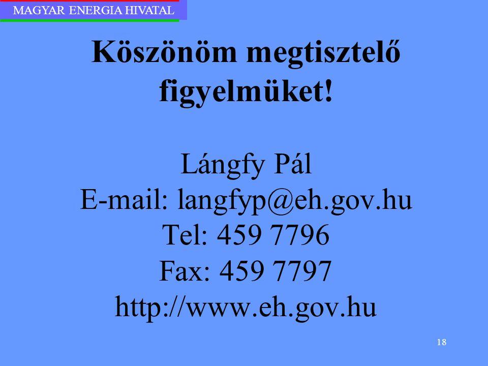 MAGYAR ENERGIA HIVATAL 18 Köszönöm megtisztelő figyelmüket! Lángfy Pál E-mail: langfyp@eh.gov.hu Tel: 459 7796 Fax: 459 7797 http://www.eh.gov.hu