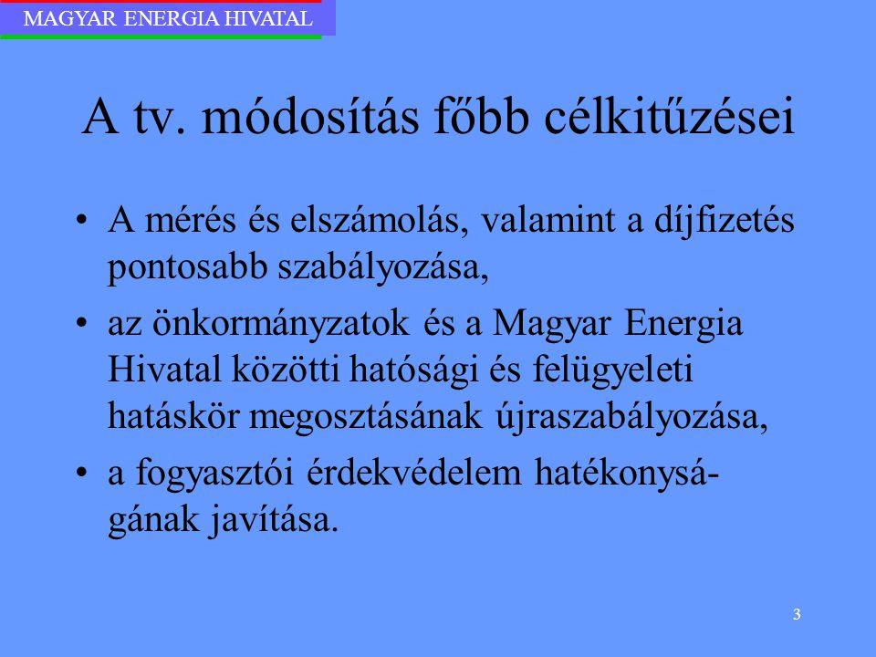 MAGYAR ENERGIA HIVATAL 3 A tv. módosítás főbb célkitűzései A mérés és elszámolás, valamint a díjfizetés pontosabb szabályozása, az önkormányzatok és a