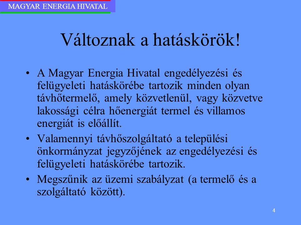 MAGYAR ENERGIA HIVATAL 4 Változnak a hatáskörök! A Magyar Energia Hivatal engedélyezési és felügyeleti hatáskörébe tartozik minden olyan távhőtermelő,