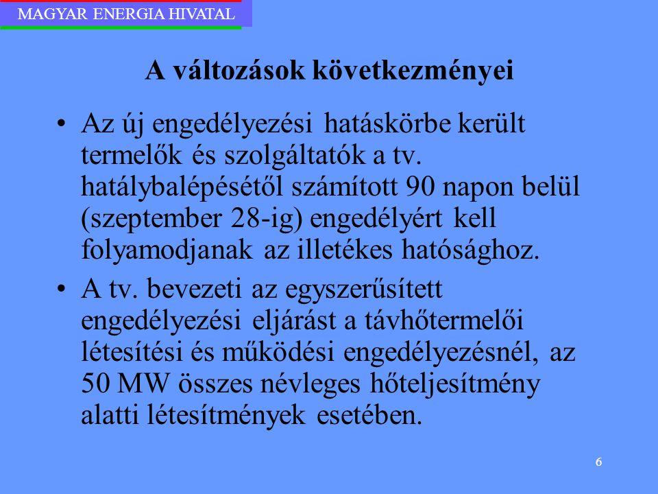 MAGYAR ENERGIA HIVATAL 6 A változások következményei Az új engedélyezési hatáskörbe került termelők és szolgáltatók a tv. hatálybalépésétől számított