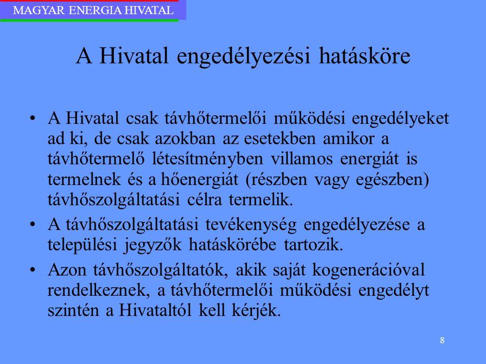 MAGYAR ENERGIA HIVATAL 8 A Hivatal engedélyezési hatásköre A Hivatal csak távhőtermelői működési engedélyeket ad ki, de csak azokban az esetekben amik