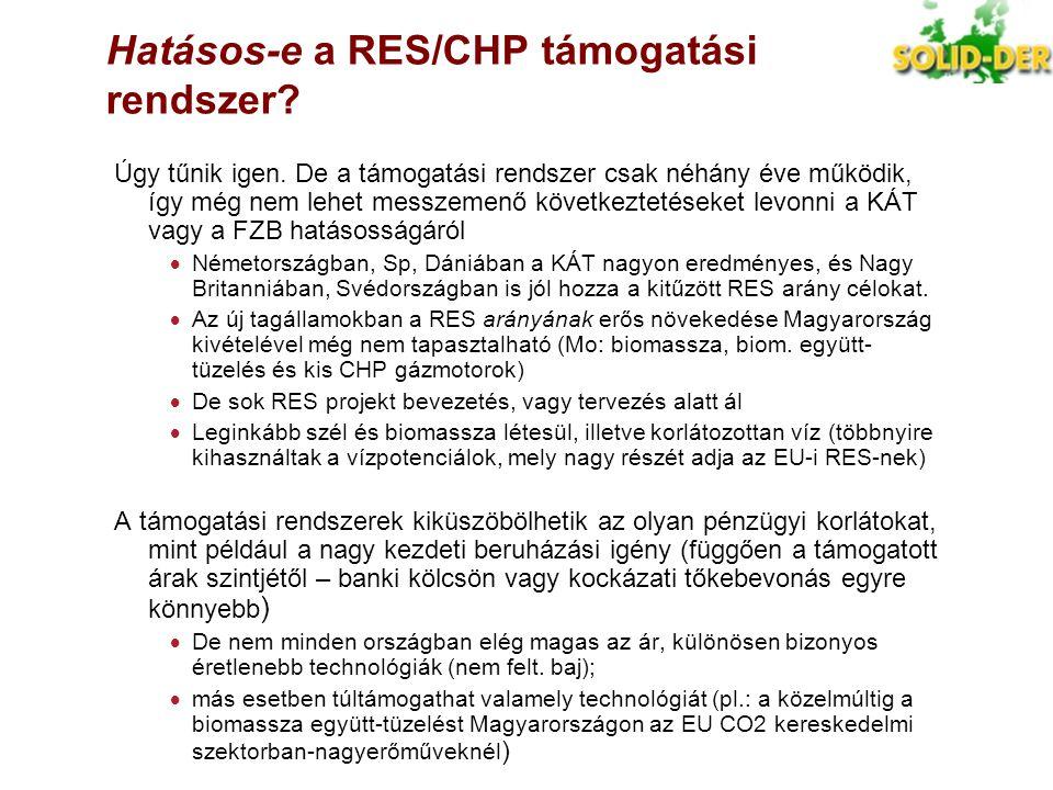 Hatásos-e a RES/CHP támogatási rendszer? Úgy tűnik igen. De a támogatási rendszer csak néhány éve működik, így még nem lehet messzemenő következtetése