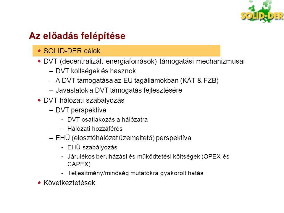 """SOLID-DER Célok A DVT részarányának optimálisra növelésének érdekében az elosztó- hálózatokban  A jelenlegi helyzet áttekintése az EU-ban, különösen az új tagállamokban  Fő """"témák és korlátok azonosítása a DVT hálózati (/rendszer-) integráció érdekében  Konkrét javaslatok megfogalmazása a DVT hálózati (/rendszer-) integrációjának elősegítésére Javasolt megközelítés:  DVT perspektíva: További bevételi lehetőségek megállapítása a DVT üzemeltetők részére további DVT integráció érdekében  Elosztóhálózat-üzemeltető perspektíva: További költség csökkentési (+bevételnövelési?) lehetőségek azonosítása az elosztóhálózat-üzemeltetőknek a DVT elősegítésével"""