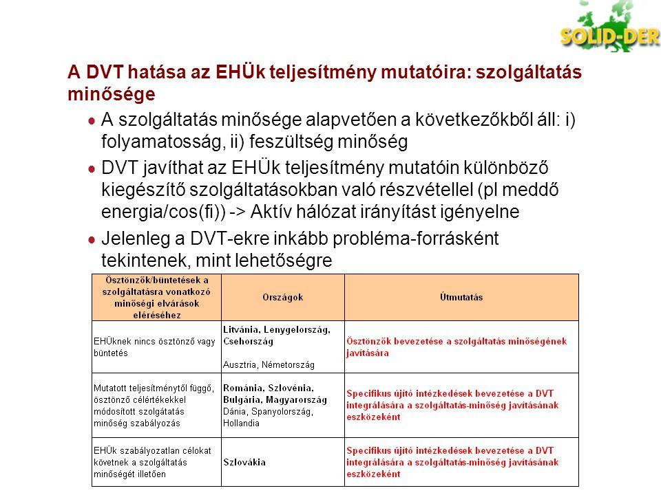 A DVT hatása az EHÜk teljesítmény mutatóira: szolgáltatás minősége  A szolgáltatás minősége alapvetően a következőkből áll: i) folyamatosság, ii) fes