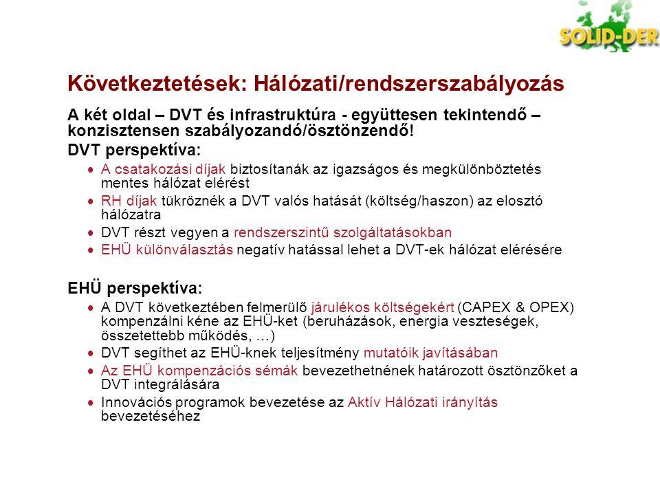 Következtetések: Hálózati/rendszerszabályozás A két oldal – DVT és infrastruktúra - együttesen tekintendő – konzisztensen szabályozandó/ösztönzendő! D