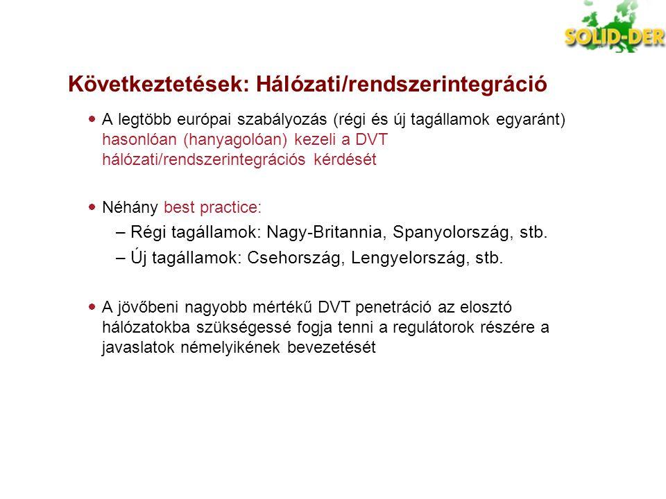 Következtetések: Hálózati/rendszerintegráció  A legtöbb európai szabályozás (régi és új tagállamok egyaránt) hasonlóan (hanyagolóan) kezeli a DVT hál