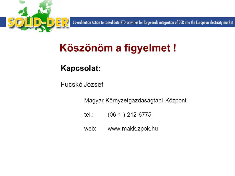 Köszönöm a figyelmet ! Kapcsolat: Fucskó József Magyar Környzetgazdaságtani Központ tel.: (06-1-) 212-6775 web: www.makk.zpok.hu