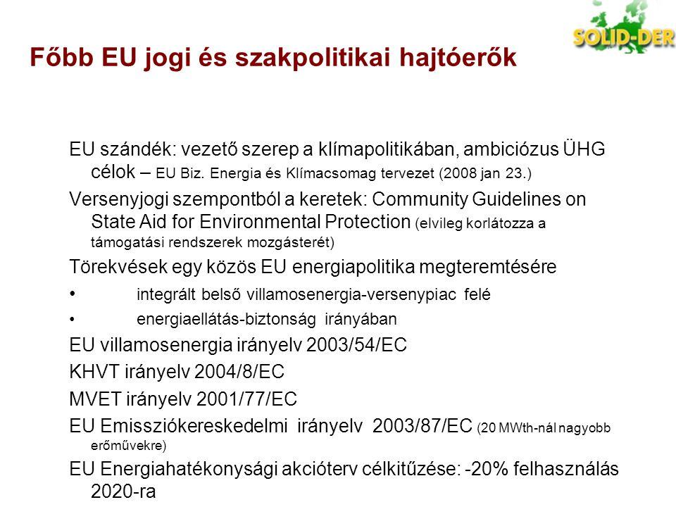 KÁT támogatási rendszerek: egyéb főbb jellemzők Ország Támogatási kategória Napszaki megkülönböztetés Más megkülönböztetés Megjegyzések Bulgária Fix árNincs Maximális kapacitás, lépcsős árak szélenergiára Csehország Fix ár vagy prémium Kis vízre és kapcsoltra Évente választani ehet zöld bónusz és prémium között Kötelező menetrend – kivéve szél és nap), -20% KÁT szankció 10 % (fel)-15% (le) eltérés esetén Magyarország Fix árIgen, kivéve szélre és napra CHP-nál méret is Pályázati rendszer szélenergiára megfontolás alatt Litvánia Fix árNincs Szlovákia Fix árNincs Szlovénia Fix ár vagy prémium Nincs Ausztria Fix árNincs, de megfontolás alatt Dánia PrémiumNincs, de megfontolás alatt Fix átvételi ár régi szélturbinákra; Tengeri szélre tenderrendszer Szélturbinák is menetrendfelelősek, piaci kiegyenlítési költségeikből 3 EUR/MWh kompenzáció Hollandia PrémiumNincs Minden termelő felelős a menetrendtartásért, de eladhatják a felelősséget (kb 0,4 -0,8 ct/kWh) vagy összefoghatnak Spanyolország Fix ár vagy prémium Van, megújuló alapú kapcsolt hőre 10 MW feletti DVT egységek menetrendfelelősek, piaci kiegyenlítően.