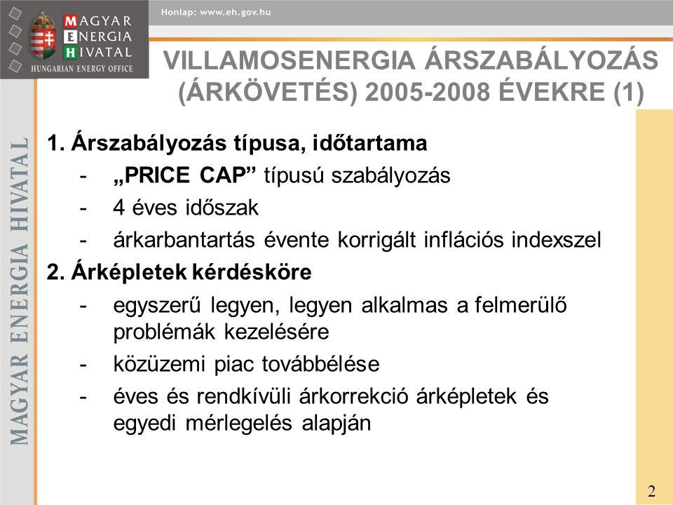 VILLAMOSENERGIA ÁRSZABÁLYOZÁS (ÁRKÖVETÉS) 2005-2008 ÉVEKRE (1) 1.