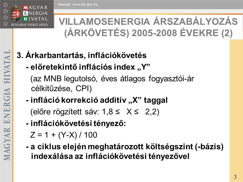 VILLAMOSENERGIA ÁRSZABÁLYOZÁS (ÁRKÖVETÉS) 2005-2008 ÉVEKRE (2) 3.