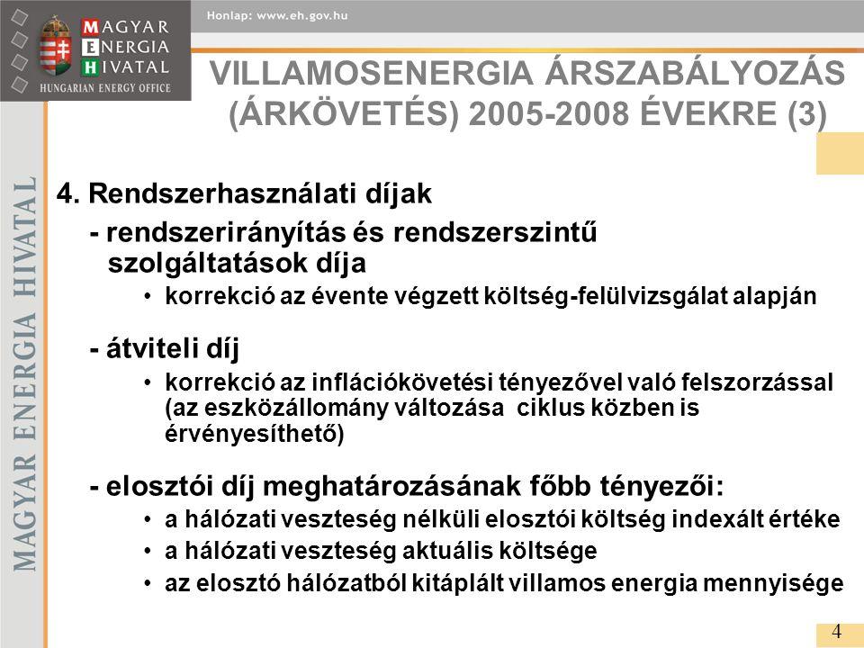VILLAMOSENERGIA ÁRSZABÁLYOZÁS (ÁRKÖVETÉS) 2005-2008 ÉVEKRE (3) 4.