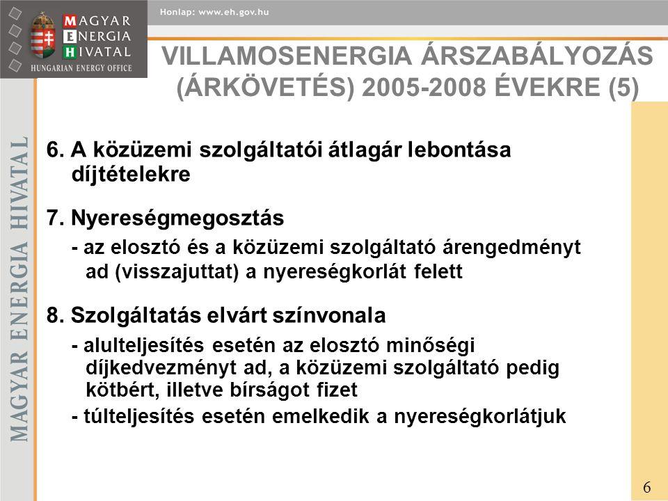 VILLAMOSENERGIA ÁRSZABÁLYOZÁS (ÁRKÖVETÉS) 2005-2008 ÉVEKRE (5) 6.