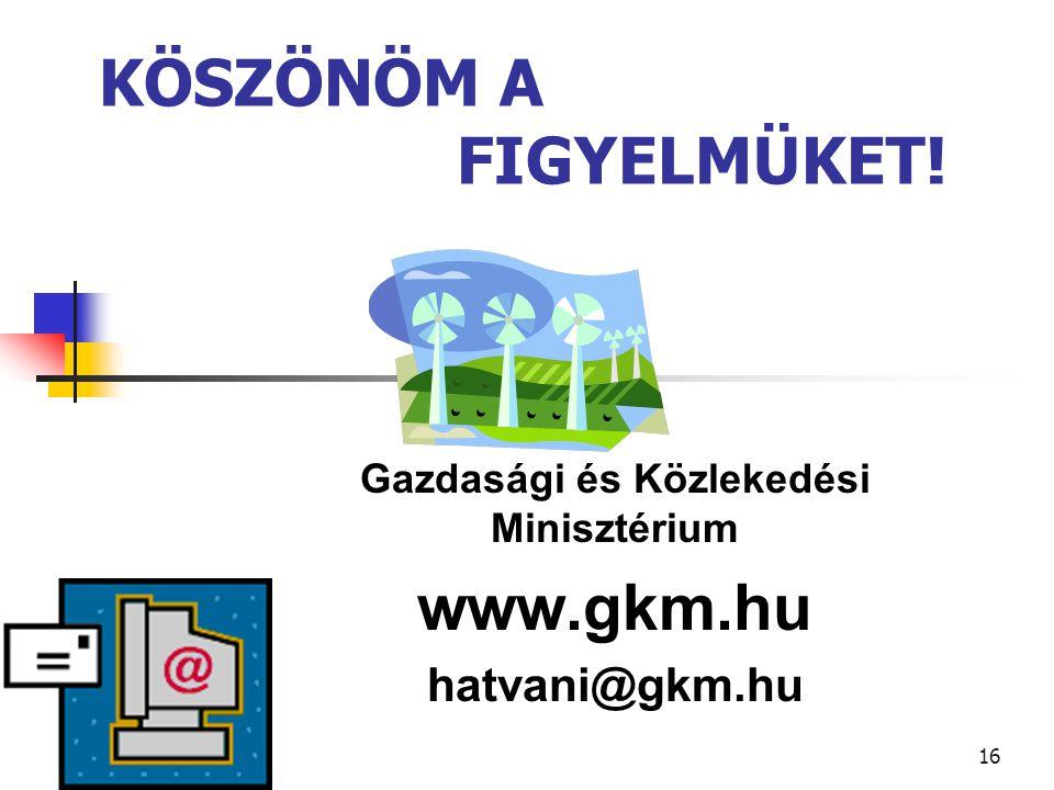 16 KÖSZÖNÖM A FIGYELMÜKET! Gazdasági és Közlekedési Minisztérium www.gkm.hu hatvani@gkm.hu