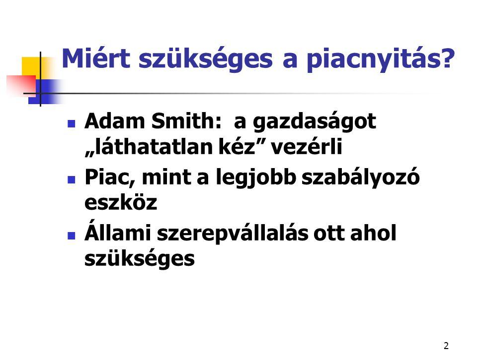 """2 Miért szükséges a piacnyitás? Adam Smith: a gazdaságot """"láthatatlan kéz"""" vezérli Piac, mint a legjobb szabályozó eszköz Állami szerepvállalás ott ah"""