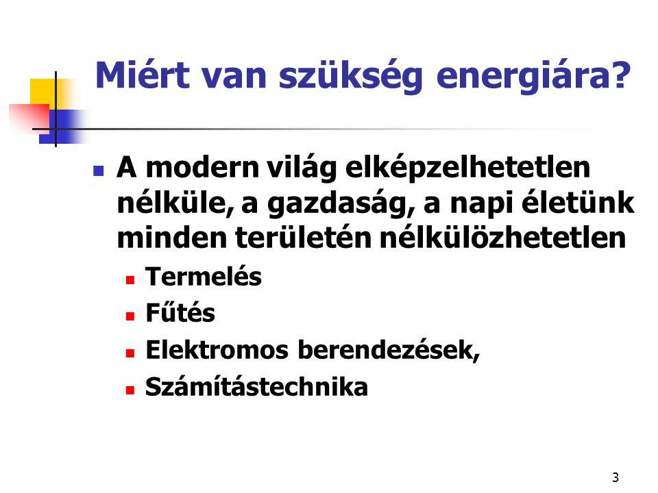 3 Miért van szükség energiára? A modern világ elképzelhetetlen nélküle, a gazdaság, a napi életünk minden területén nélkülözhetetlen Termelés Fűtés El