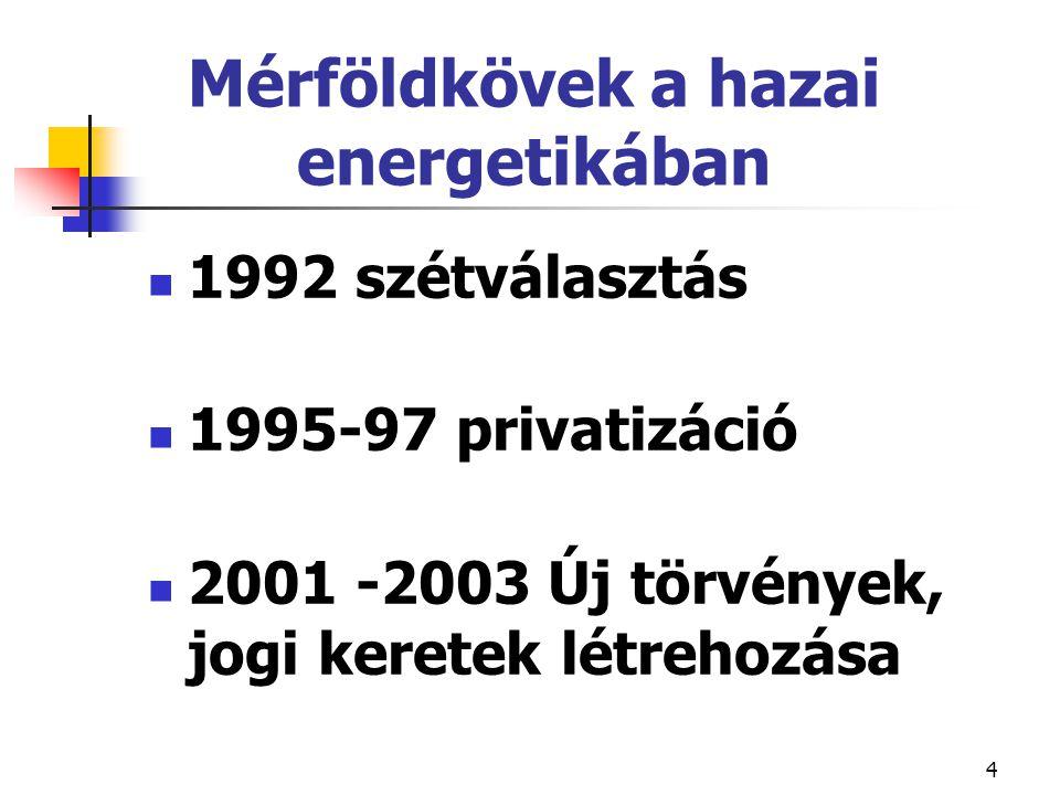 4 Mérföldkövek a hazai energetikában 1992 szétválasztás 1995-97 privatizáció 2001 -2003 Új törvények, jogi keretek létrehozása