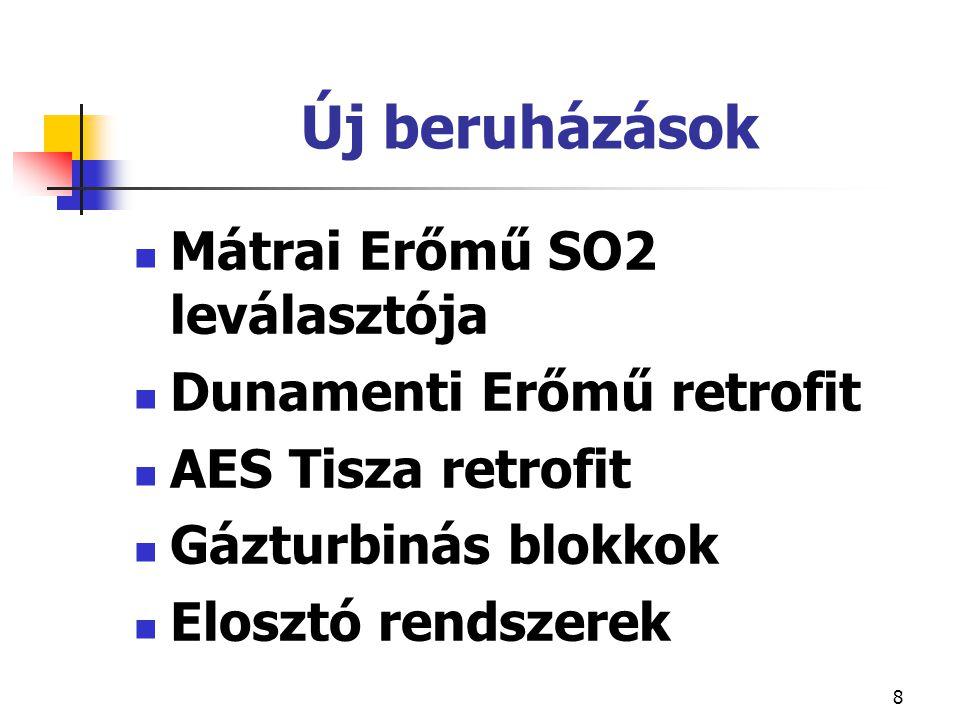 8 Új beruházások Mátrai Erőmű SO2 leválasztója Dunamenti Erőmű retrofit AES Tisza retrofit Gázturbinás blokkok Elosztó rendszerek