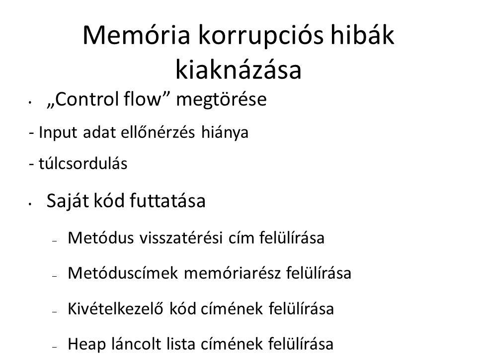"""Memória korrupciós hibák kiaknázása """"Control flow"""" megtörése - Input adat ellőnérzés hiánya - túlcsordulás Saját kód futtatása – Metódus visszatérési"""