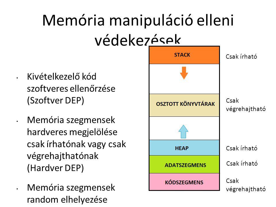 Memória manipuláció elleni védekezések Kivételkezelő kód szoftveres ellenőrzése (Szoftver DEP) Memória szegmensek hardveres megjelölése csak írhatónak