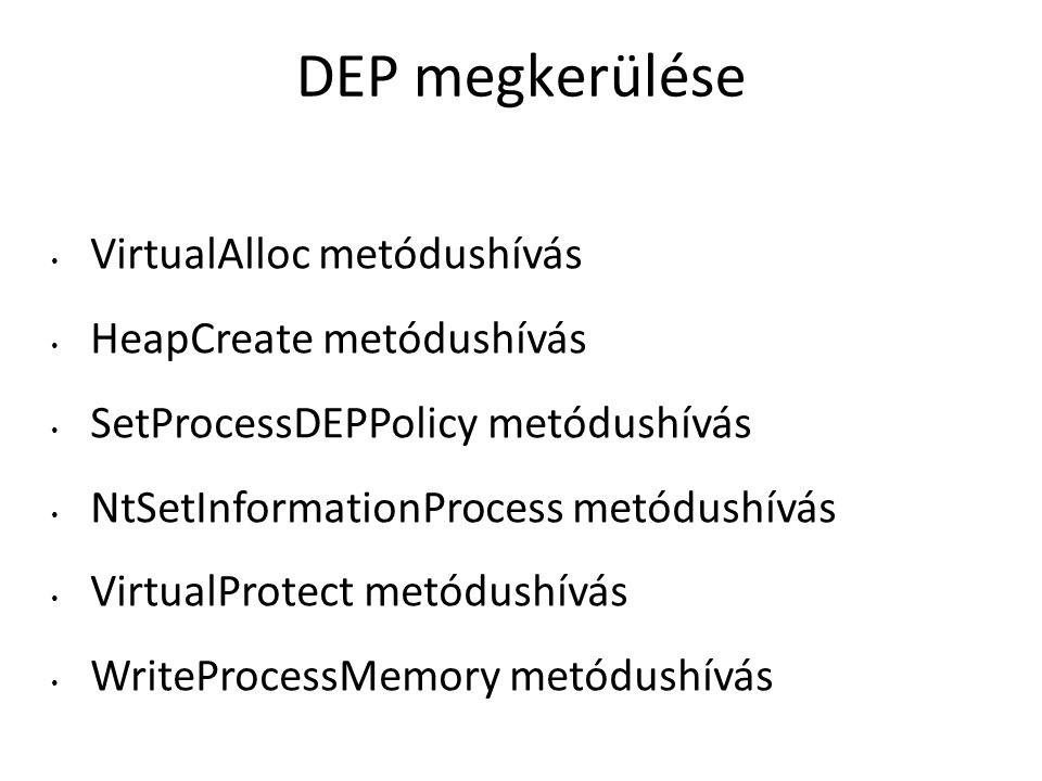 DEP megkerülése VirtualAlloc metódushívás HeapCreate metódushívás SetProcessDEPPolicy metódushívás NtSetInformationProcess metódushívás VirtualProtect