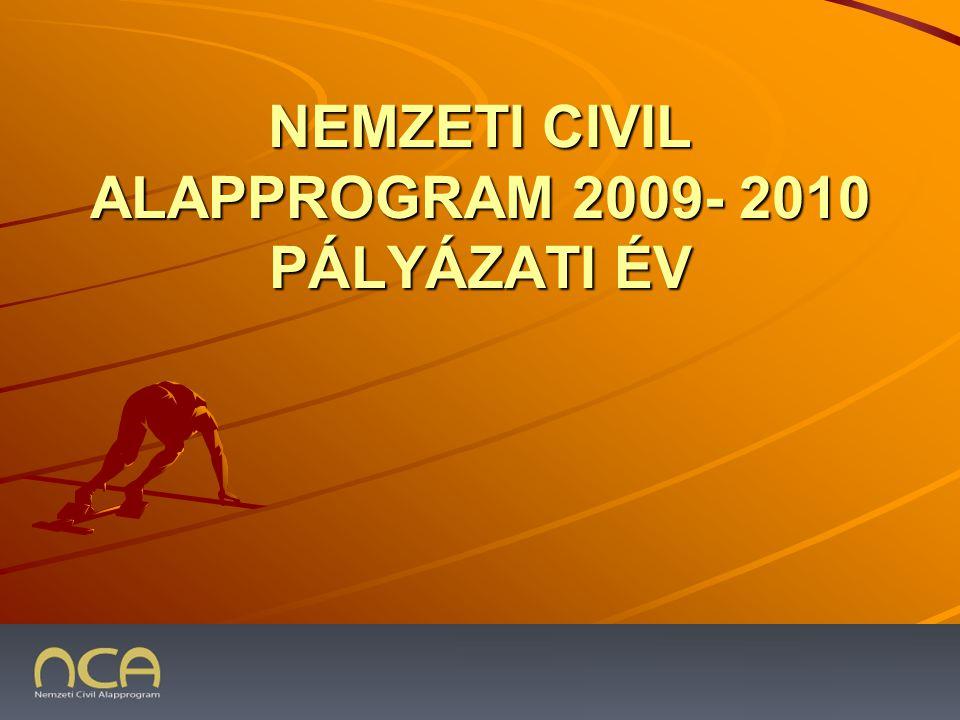 NEMZETI CIVIL ALAPPROGRAM 2009- 2010 PÁLYÁZATI ÉV