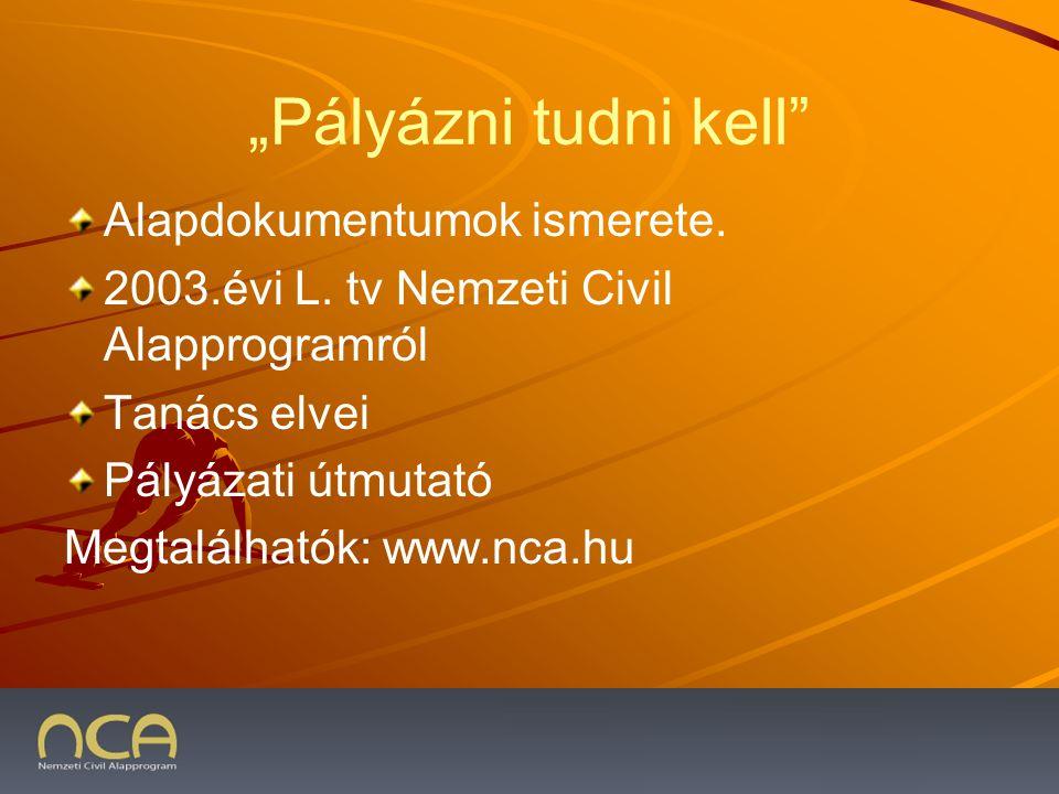 """""""Pályázni tudni kell Alapdokumentumok ismerete. 2003.évi L."""