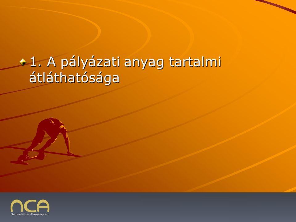 1. A pályázati anyag tartalmi átláthatósága 2009.01.23.19
