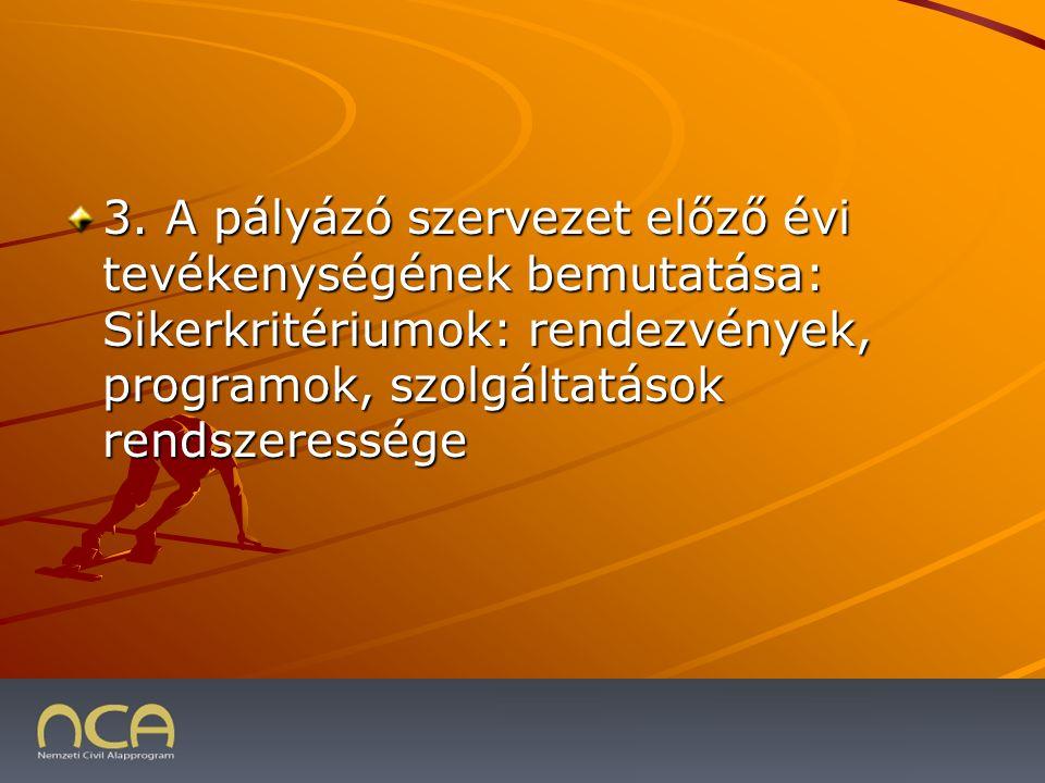 3. A pályázó szervezet előző évi tevékenységének bemutatása: Sikerkritériumok: rendezvények, programok, szolgáltatások rendszeressége 2009.01.23.21