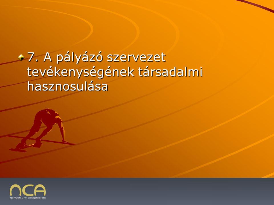 7. A pályázó szervezet tevékenységének társadalmi hasznosulása 2009.01.23.25