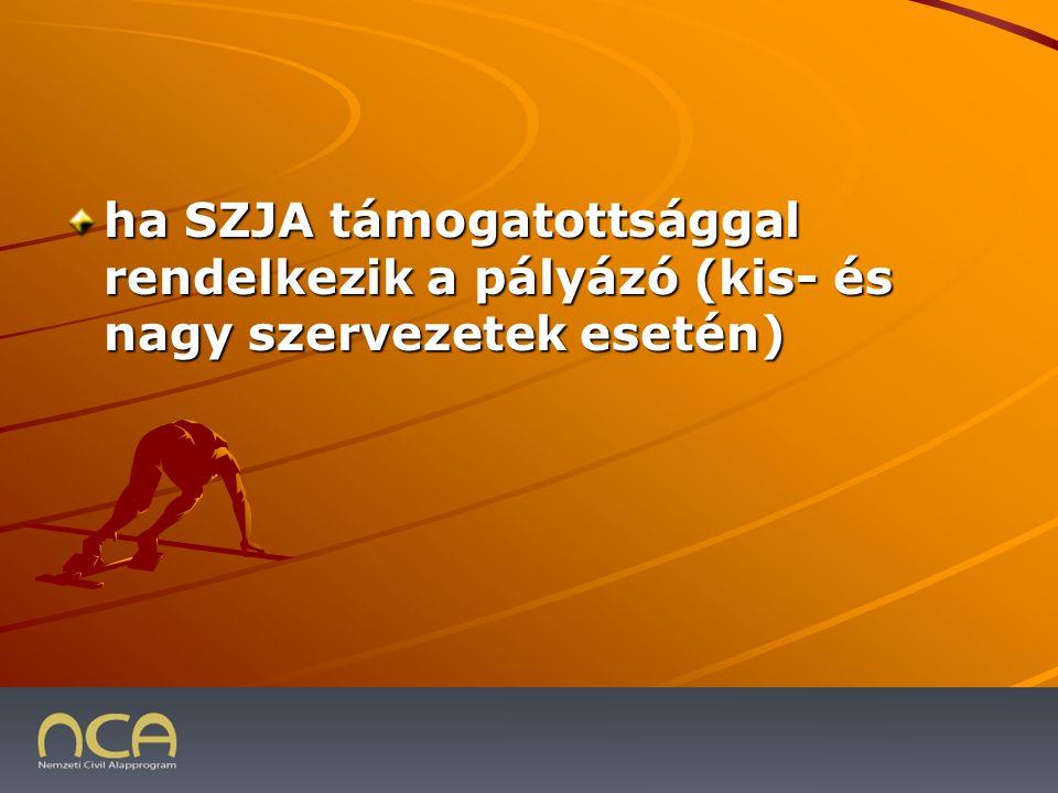 ha SZJA támogatottsággal rendelkezik a pályázó (kis- és nagy szervezetek esetén) 2009.01.23.28