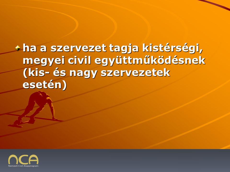 ha a szervezet tagja kistérségi, megyei civil együttműködésnek (kis- és nagy szervezetek esetén) 2009.01.23.29