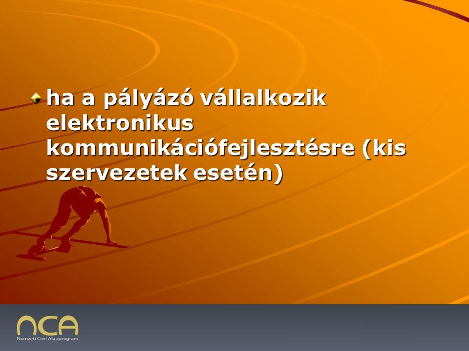 ha a pályázó vállalkozik elektronikus kommunikációfejlesztésre (kis szervezetek esetén) 2009.01.23.30