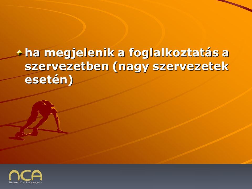 ha megjelenik a foglalkoztatás a szervezetben (nagy szervezetek esetén) 2009.01.23.31