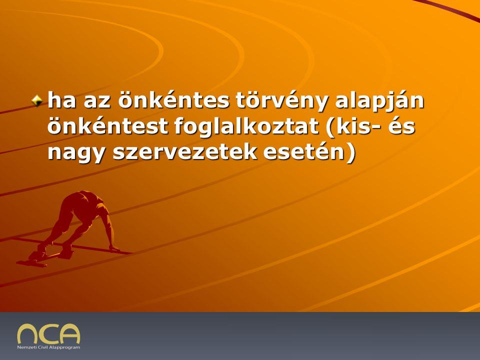 ha az önkéntes törvény alapján önkéntest foglalkoztat (kis- és nagy szervezetek esetén) 2009.01.23.32