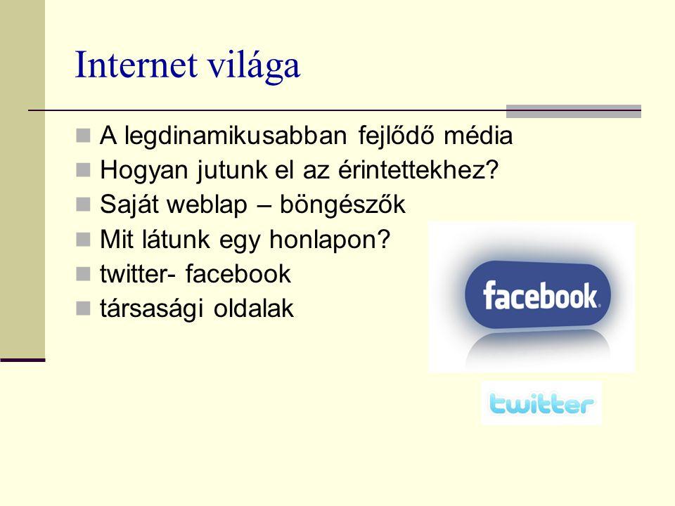 Internet világa A legdinamikusabban fejlődő média Hogyan jutunk el az érintettekhez? Saját weblap – böngészők Mit látunk egy honlapon? twitter- facebo