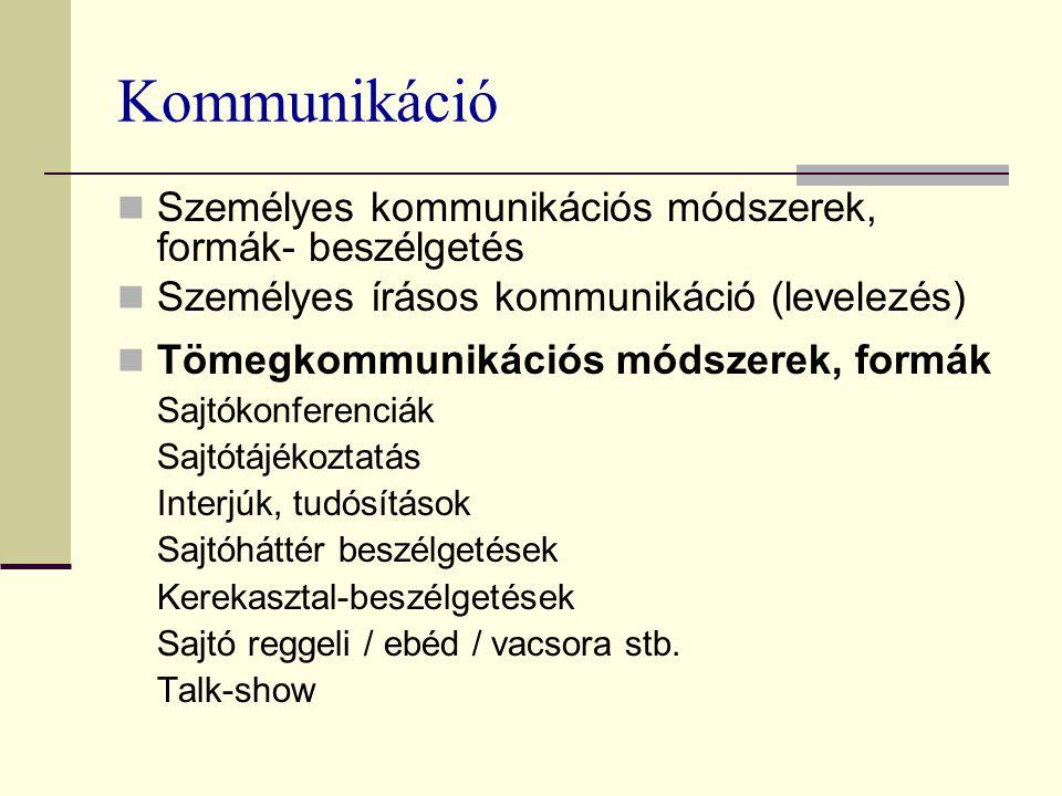 Kommunikáció Személyes kommunikációs módszerek, formák- beszélgetés Személyes írásos kommunikáció (levelezés) Tömegkommunikációs módszerek, formák Sajtókonferenciák Sajtótájékoztatás Interjúk, tudósítások Sajtóháttér beszélgetések Kerekasztal-beszélgetések Sajtó reggeli / ebéd / vacsora stb.