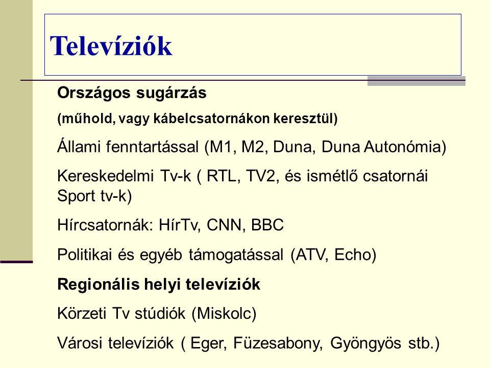 Országos sugárzás (műhold, vagy kábelcsatornákon keresztül) Állami fenntartással (M1, M2, Duna, Duna Autonómia) Kereskedelmi Tv-k ( RTL, TV2, és ismétlő csatornái Sport tv-k) Hírcsatornák: HírTv, CNN, BBC Politikai és egyéb támogatással (ATV, Echo) Regionális helyi televíziók Körzeti Tv stúdiók (Miskolc) Városi televíziók ( Eger, Füzesabony, Gyöngyös stb.) Televíziók